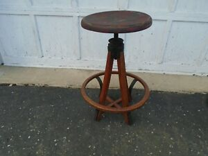 Vintage Industrial Stool Late 1800s Early 1900s Antique