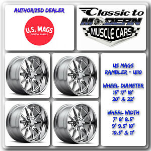 Us Mags Rambler U110 15 X7 To 22 X11 Chrome Set Of 4 Wheels