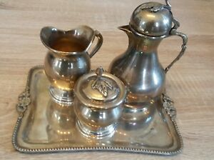 Egyptian Islamic Arabic Antique Sterling Silver Coffee Or Tea Service Set