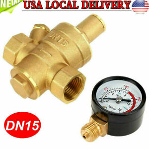 Dn15 Brass Adjustable 1 2 Water Pressure Regulator Reducer With Gauge Meter Us
