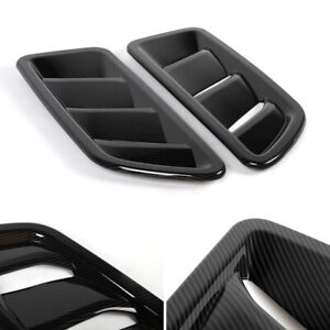 2x Carbon Fiber Front Engine Hood Air Vent Cover Trim For Jeep Wrangler Jl 2018