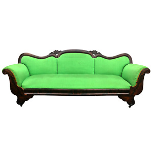 Antique American Empire Mahogany Green Upholstery Settee Couch Sofa