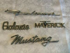 4 Vintage Ford Emblems Metal Falcon 10 Galaxie Mavrick Mustang 7 5 Script