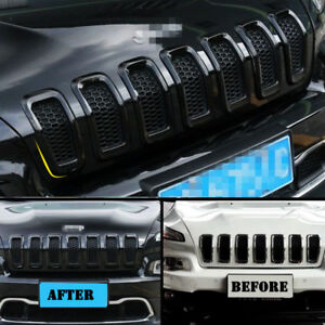 For 2014 2018 Jeep Cherokee Black Car Front Grille Inserts Grill Frame Trim 7pcs
