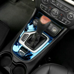 Blue For Jeep Cherokee 2014 2018 Interior Central Console Gear Panel Cover Trim