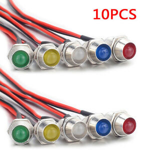 10pcs Led Indicator Light Lamp Bulb Pilot Dash Directional Panel Car Truck 12v