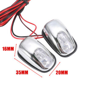 2pc Auto Car Hood Windshield Spray Nozzle With White Led Light 12v Wiper Washer