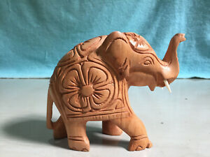 Ceylon Wooden Carving Polished Elephant Statue