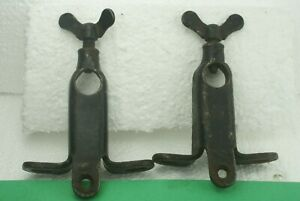 Vintage Pair Ford Model T Roadster Top Iron Windshield Post Clamp Mounts 1926