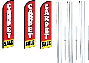 Carpet Sale Windless Flag With Hybrid Pole Set 3 Pack