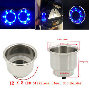 12pcs Blue Light 8 Led Stainless Steel Cup Drink Holder Marine Boat Car Truck