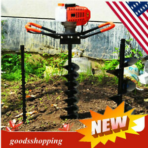 52cc Petrol Post Hole Digger Earth Auger One Man Posthole Drill Borer 3 Bits