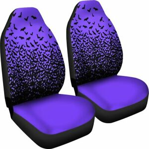 Halloween Bats Purple Set Of 2 Universal Front Seat Covers Protection