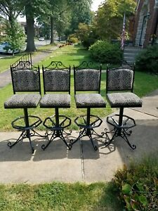 Vintage Mid Century Modern Wrought Iron Bar Chairs Stools