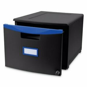 Storex Single drawer Mobile Filing Cabinet Black blue stx61269u01c