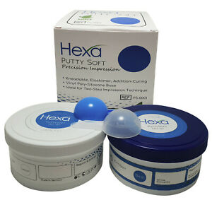 2 X 300 Ml Fast Set Dental Putty Pvs Vps Impression Material Mint Base Hexa