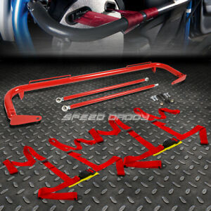Red 49 stainless Steel Chassis Harness Bar red 4 pt Strap Buckle Seat Belt
