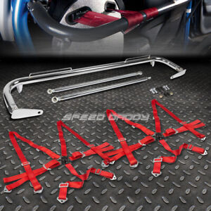Chrome 49 stainless Steel Chassis Harness Bar red 6 pt Strap Camlock Seat Belt