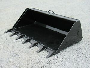 66 Heavy Duty Low Profile Tooth Bucket Attachment Fits Skid Steer Loader