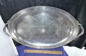 Vintage Large Oval Silver Plated Serving Tray Platter Oneida Silversmith
