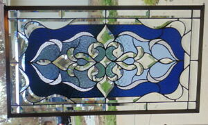 Stained Glass Transom Window Hanging 32 1 2 X 19 Brass Frame Edging