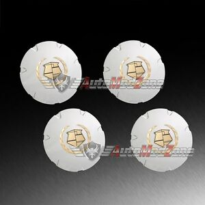 Set Of 4 07 14 Cadillac Escalade Chrome Wheel Hub Center Cap Cover Golden Emblem