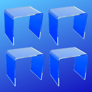 Set Of 4 Square Acrylic Risers 7x7x7 Jewelry Showcase Display Free Shipping