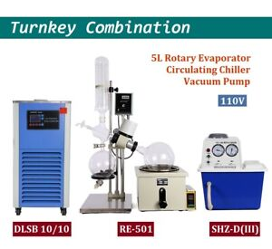 Lab 5l Rotary Evaporator Turnkey Set Rotavap Vacuum Pump Cycling Chiller