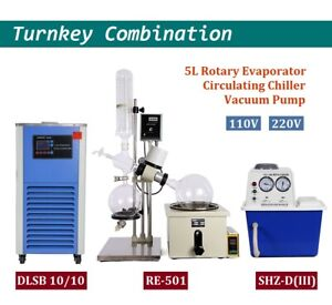 Lab 5l Rotary Evaporator One stop Rotavap Vacuum Pump Cycling Chiller 110v 220v