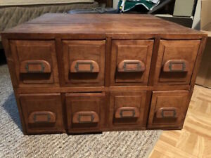 8 Drawer Library Card Catalog Cabinet