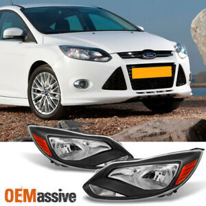 Fit 2012 2014 Ford Focus Black Headlights Lamps Light Left Right Replacement