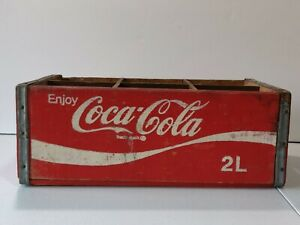 RED COCA COLA WOODEN CRATE 2L COMPLETE VINTAGE