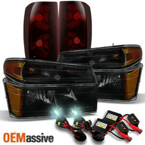 Fit 04 12 Chevy Colorado Canyon Smoked Headlights dark Red Tail Lights 8000k Hid