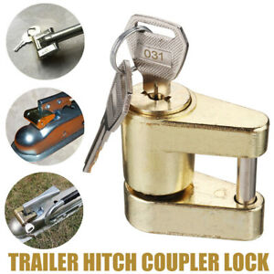 Trailer Hitch Coupler Lock For Locking Hauling Security Towing Tow Bar 2 Keys Us
