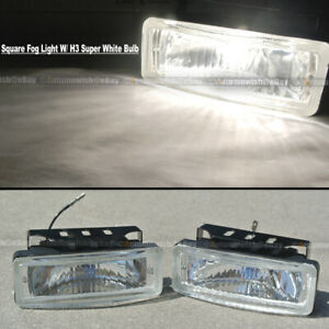 For S10 5 X 1 75 Square Clear Driving Fog Light Lamp Kit W Switch Harness