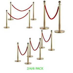 2 4 6 Pack Stainless Steel Stanchion Set Rope Red Velvet Velour Queue Barrier Us