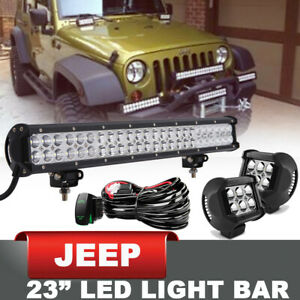 23 144w Led Light Bar 4 18w Cube Pods Offroad Driving Lamp For Jeep Wrangler