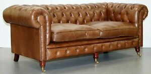 Chesterfield Tufted Heritage Brown Leather Three Seat Sofa Part Of A Large Suite