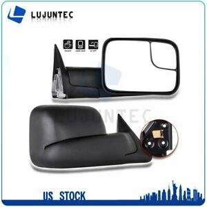 Pair For 1994 2002 Dodge Ram Truck Pickup Manual Black Side View Towing Mirrors