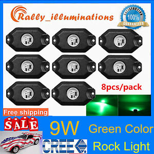8x 9w Led Rock Lights Green Wrangler Offroad Under Body For Atv Suv Boat Vehicle