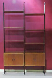 Unique 1950s Era Italian Walnut Wall Unit Etagere Bookcase Book Shelf