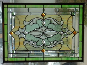 Stained Glass Window Hanging 30 X 22 1 2 Brass Frame