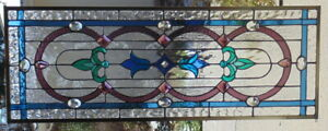 Stained Glass Transom Window Hanging 37 1 2 X 14 Brass Frame