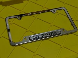 Toyota Logo Brand New License Frame Plate Cover Stainless Steel Chrome W Caps