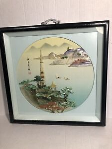 Chinese Japanese Old 3d Handmade Picture Glass Wood Frame 15 5x15 5
