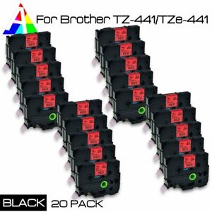 20 Pk Tz 441 Black On Red Label Tape Tze 441 For Brother P touch Pt 1830 18mm 8m