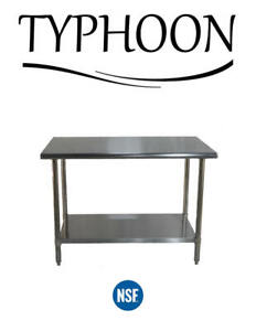 Stainless Steel Commercial Counter Work Table Adjustable Undershelf 96 X 30