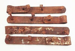 Vtg Antique Cast Iron Forged Barn Door Gate Strap Hinges 12 Rustic 4 Pcs
