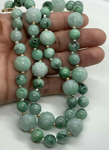 Antique Vintage Carved Burma Jade Hand Carved Dragon Bead Necklace Jewelry