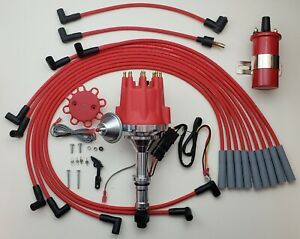 Small Cap Buick 350 Hei Distributor 8mm Spark Plug Wires Usa 45k Red Coil